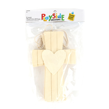 Playside Creations, Wood Cross with Heart in Middle, 5 x 8 Inches, Natural, 6 Count