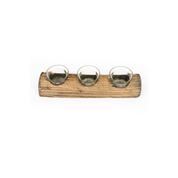 Rustic Log Votive Candle Holder, 3 Candle Cups, 11 x 3 inches