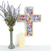 Watercolor Floral Wall Cross, MDF, 16 1/2 x 12 1/2 x 3/4 inches
