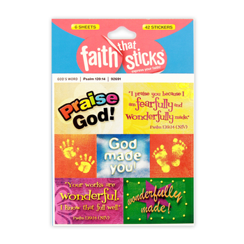 Faith that Sticks, Psalm 139:14 Stickers, Package of 42