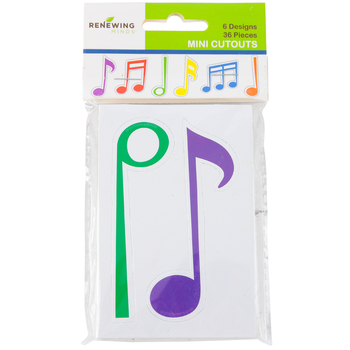 Renewing Minds, Mini Cutouts, Music Notes, 6 Designs, 3-1/2 Inches, Multi-Colored, 36 Pieces