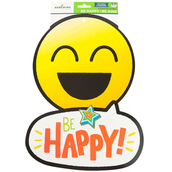 Pop Mania Collection, Two-Sided Decoration, 10.50 x 14.25 Inches, Smiling Emojis Be Happy Be Kind