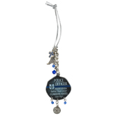 Abbey and CA Gift, Police Officer Car Charm, Metal, Blue and Silver, 4 inches