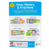 School Zone, Time, Money, and Fractions Deluxe Edition Workbook, Paperback, 64 Pages, Grades 1-2