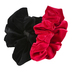 Fashion Tid Bits, Velvet Ruffled Hair Scrunchies, Red and Black, 1 Each of 2 Designs