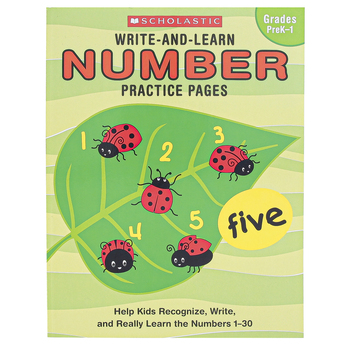 Scholastic, Write-and-Learn Number Practice Pages, Reproducible Paperback, 72 Pages, Grades PreK-1