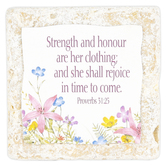 Product Concept Manufacturing, Proverbs 31:25 Strength and Honor Tabletop Tile, Resin, Stone, 4 x 4 x 1/2 inches