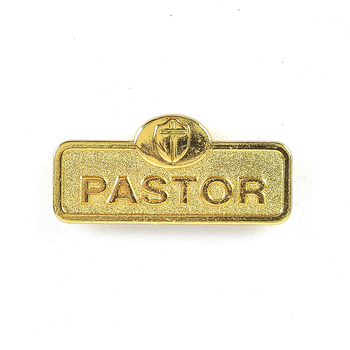 B&H Publishing Group, Pastor Badge with Cross, Zinc Alloy, Brass, 2 x 2/3 inches