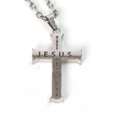 Spirit & Truth, Isaiah 54:17 Cross Necklace, Stainless Steel, 20 inches