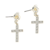 Loved By Design, Rose/Cross Dangle Earrings, Sterling Silver
