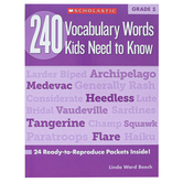 Scholastic, 240 Vocabulary Words Kids Need To Know Workbook, Reproducible Paperback, 80 Pages, Grade 5
