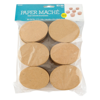 Paper Mache Mini Oval Box Set with Removable Lids, 2.75 x 2 x 1.50-Inches, Value Pack, Grades PreK-Adult