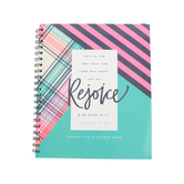 Renewing Minds, Psalm 118:24 Lesson Plan & Record Book, Spiral, Seafoam Green, Pink, Navy Blue, 160 Pages