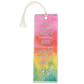 Dexsa, You've Been A Blessing Daughter Tasseled Bookmark, Pink and Orange, 2 x 6 inches