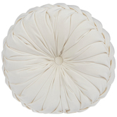 Cream Velvet Round Textured Pillow, Polyester, 15-inch Diameter x 5.37 Inches
