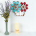 Rustic Flowers Wall Decor, Galvanized Metal, Turquoise and Red, 11 x 14 x 1 inches