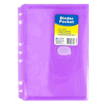 C-Line, Super Heavyweight Binder Pocket, Various Colors, 8 1/2 x 5 1/2 inches