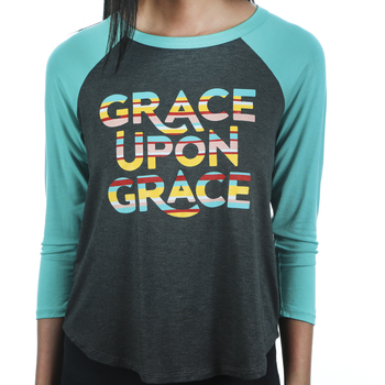 Rooted Soul, Grace Upon Grace, Women's 3/4 Raglan Sleeve T-Shirt, Gray and Seafoam, XS-2XL