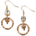 Modern Grace, Hoop with Crystal Stone and Love Heart Charm Dangle Earrings, Zinc Alloy, Gold