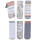 ThreeRoses, Grace Floral & Buffalo Check Magnetic Bookmarks, 1 Each of 6 Designs