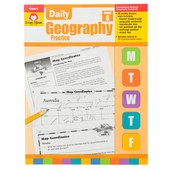 Evan-Moor, Daily Geography Practice Teacher's Edition, Paperback, 160 Pages, Grade 6