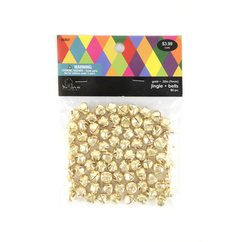 Jingle Bells, 9 millimeters, Gold, Set of 80