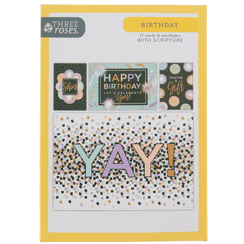 ThreeRoses, Birth-Yay Day Cards, 12 count