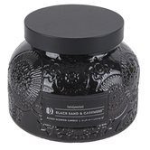 Darsee & David's, Black Sand & Cashmere Embossed Jar Candle, Black, 18 Ounces