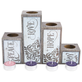 Abbey and CA Gift, Peace Love Joy Hope Advent Pillar Candle Set