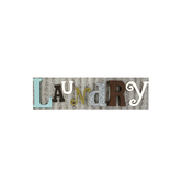 Rustic Laundry Room Wall Plaque, Wood and Tin, 28 x 8 inches