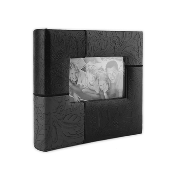Brother Sister Design Studio, Floral Patchwork Photo Album, Black, 160 Photo Slots