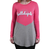 Rooted Soul, Hallelujah, Women's Long Sleeve Color Block Top, Coral and Ash Gray, XS-2XL