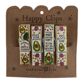 Natural Life, Avocado Happy Chip Clips, Wood, Multicolored, 3 x 1 x 5/8 inches, 1 Each of 4 Designs