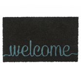 Welcome Doormat, Coir, Dark Gray and Turquoise, 18 x 30 Inches