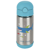 Stephen Joseph, Shark Water Bottle, Stainless Steel, Blue & Silver, 11.8 ounces