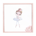 Ballerina with Rose Framed Art, MDF, Pink and White, 13 x 13 inches