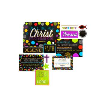 Chalk Talk Collection, Christian Bulletin Board Set, Multi-Colored, 27 Pieces