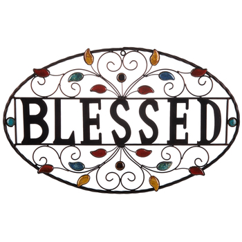 Blessed Wall Decor, Metal, Dark Brown, 13 7/8 x 22 x 1/2 inches