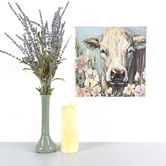 Cow in Flower Field Wall Art, Canvas, 12 x 12 inches