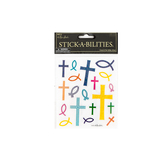 the Paper Studio, Glittery Cross and Fish Stickers, Assorted Colors, 38 pieces