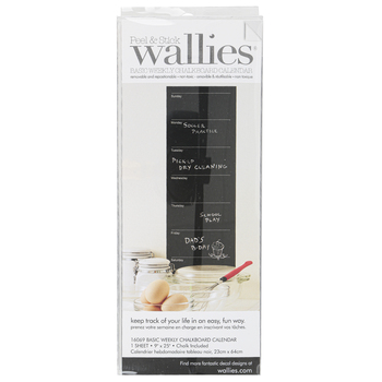Wallies, Peel and Stick Basic Weekly Chalkboard Calendar with Chalk, 9 x 25 Inches, 1 Each