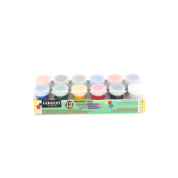 Sargent Art, Washable Paint Set, .75 Ounces, Primary and Fluorescent Colors, Pack of 12