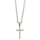 Dicksons, Jeremiah 17:7 Man of God Taper Cross Necklace, Stainless Steel, 24 inches