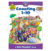 School Zone, Counting 1-10 Preschool Workbook, Paperback, 64 Pages, Ages 3-5