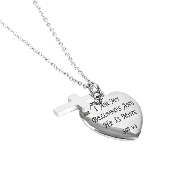 Spirit & Truth, Song of Solomon 6:3, Beloved Sweetheart, Women's Necklace, Stainless Steel, 18 inches