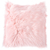 Pink Faux Fur Square Pillow, Acrylic and Polyester, 18 x 18 x 4 inches