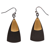 Mercy Adorned, Proverbs 2:8 Triangle Dangle Earrings, Zinc Alloy and Hematite, Gold Brushed Brass and Gray