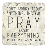 Philippians 4:6 Pray About Everything Wall Plaque, Resin, Gray, 7 x 7 inches