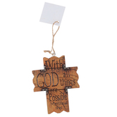 Matthew 19:26, Western Wall Cross, Resin, Brown, 4 x 3 1/4 inches
