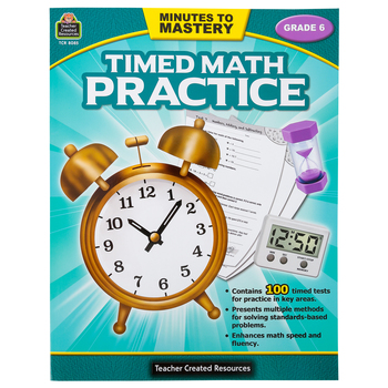 Teacher Created Resources, Minutes to Mastery Timed Math Practice Grade 6, Paperback, 112 Pages
